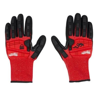 Large Red Nitrile Impact Level 3 Cut Resistant Dipped Work Gloves