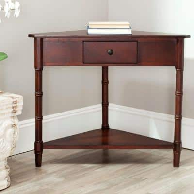 Gomez 34 in. Dark Cherry Triangle Wood Console Table with Drawers