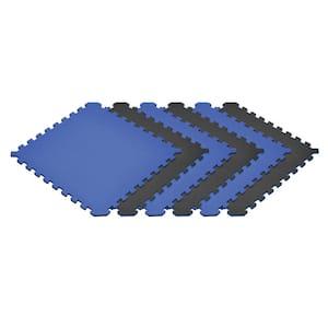 Blue/Black 24 in. x 24 in. EVA Foam Truly Reversible Interlocking Tile (60-Tile)