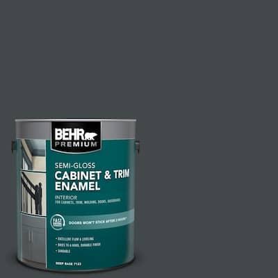1 gal. #PPU24-23 Little Black Dress Semi-Gloss Enamel Interior Cabinet and Trim Paint