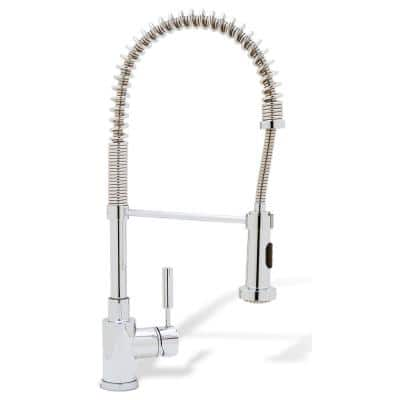 MERIDIAN Semi-Pro Single-Handle Pull-Down Sprayer Kitchen Faucet in Polished Chrome