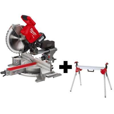 M18 FUEL 18-Volt Lithium-Ion Brushless Cordless 12 in. Dual Bevel Sliding Compound Miter Saw Kit with Stand and Battery