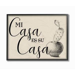 11 in. x 14 in. ''Mi Casa es Su Casa Tan Spanish Cactus Drawing'' by Artist Daphne Polselli Framed Wall Art