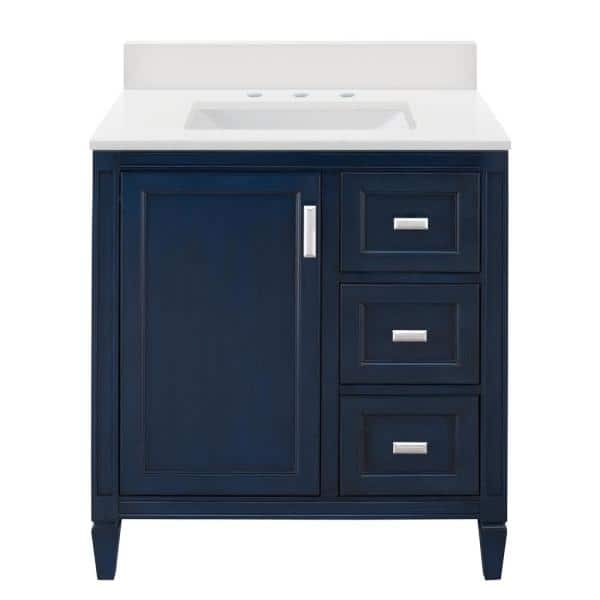 Home Decorators Collection Channing 31 In W X 22 In D Vanity In Royal Blue With Engineered Marble Vanity Top And Sink In Winter White 4 Piece Cgbv3022d Wwh The Home Depot