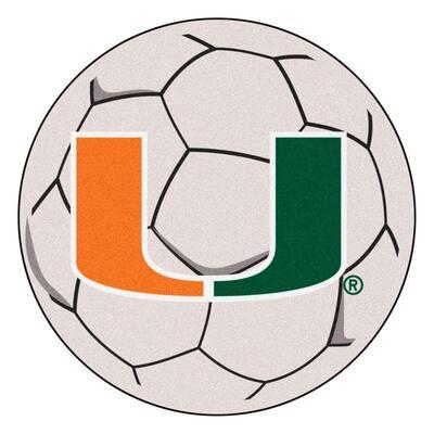 NCAA University of Miami Cream 2 ft. x 2 ft. Round Area Rug