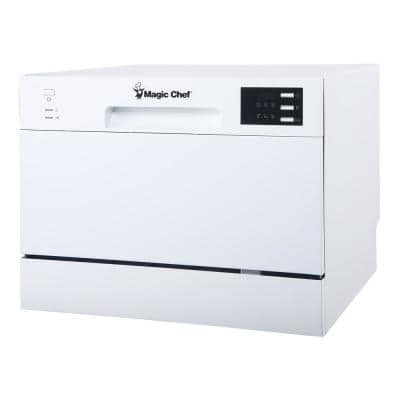 21 in. White Electronic Portable 120-volt Dishwasher with 6-Cycles with 6-Place Settings Capacity