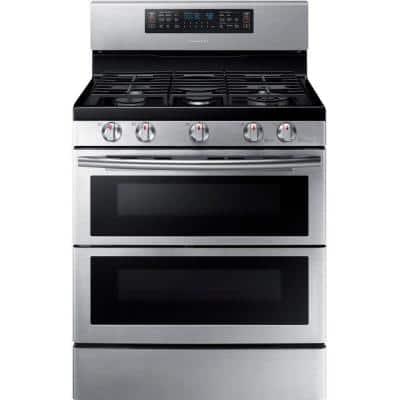 30 in. 5.8 cu. ft. Double Oven Gas Range with Self-Cleaning Convection Oven in Stainless
