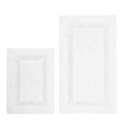 Peniston White 17 in. x 24 in. and 21 in. x 34 in. Solid Cotton 2-Piece Bath Rug Set