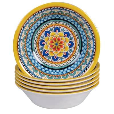 Portofino 6-Piece Seasonal Multicolored Melamine 7.5 in. diameter x 2 in. high 22 oz. Bowl Set (Service for 6)