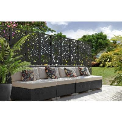 2 ft. x 4 ft. Black Tropical Decorative Privacy and Fence Panel