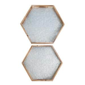 2-Pieces White Natural Wood Hexagon Nesting Food Serving Trays with Easy-Grasp Cutout Handles