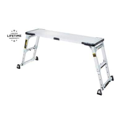 55 in. x 14 in. x 30 in. Aluminum Heavy-Duty Adjustable-Height PRO Slim-Fold Work Platform with 300 lbs. Load Capacity