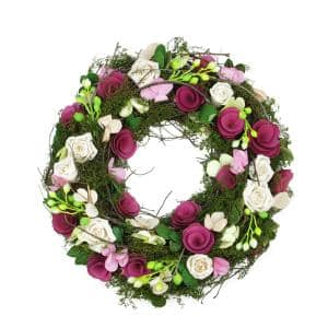 14 in. Purple and White Flowers and Green Leaves Berries and Twig Artificial Spring Floral Wreath