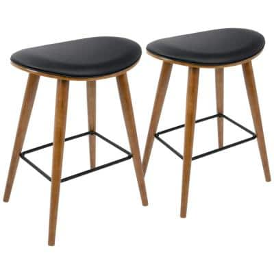 Saddle 26 in. Counter Stool in Walnut and Black in Faux Leather (Set of 2)