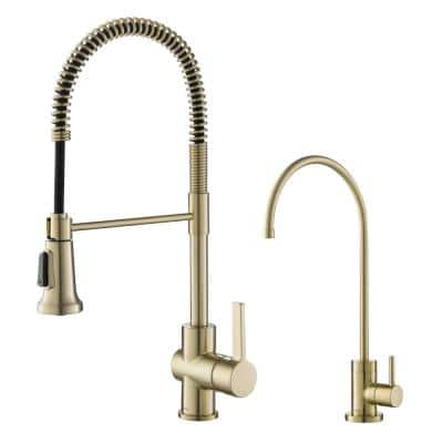 Britt Commercial 1-Handle Pull-Down Kitchen Faucet and Purita Water Filtration Faucet in Brushed Gold