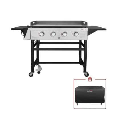 4-Burner Gas Griddle with a Cover in Steel