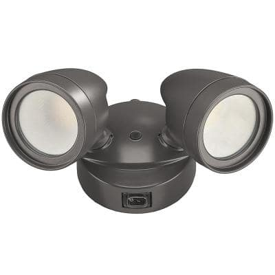 2-Head Bronze Outdoor Integrated LED Security Flood Light 1200 to 2400 Lumen Boost Dusk-to-Dawn 4000K Bright White