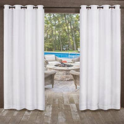 Miami Winter White Solid Polyester 54 in. W x 96 in. L Grommet Top, Indoor/Outdoor Sheer Curtain Panel (Set of 2)