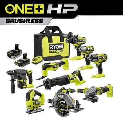 ONE+ HP 18V Brushless Cordless 8-Tool Combo Kit with 4.0 Ah Battery, 2.0 Ah Battery, 18V Charger, and Bag