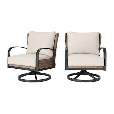 Hazelhurst Brown Wicker Outdoor Patio Swivel Lounge Chair with CushionGuard Almond Tan Cushions (2-Pack)