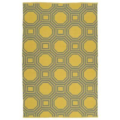 Brisa Yellow 9 ft. x 12 ft. Indoor/Outdoor Reversible Area Rug