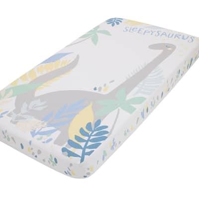 Sleepysaurus Blue, Yellow, Grey and White Dino Leaf 100% Cotton Photo Op Fitted Crib Sheet