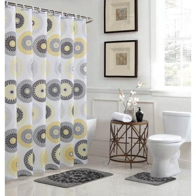 Raquel 18 in. W x 30 in. L Bath Rug Set and 72 in. W x 72 in. L Shower Curtain Set in Gold