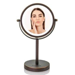 Small Antique Bronze Lighted Tabletop Makeup Mirror (11.6 in. H x 7.1 in. W), 1x-7x Magnification