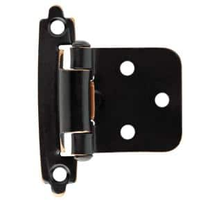Venetian Bronze with Copper Highlights Self-Closing Overlay Cabinet Hinge (5-Pairs)