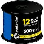 500 ft. 12-Gauge Blue Solid CU THHN Wire
