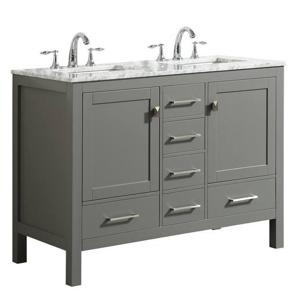 Eviva Aberdeen 48 In Transitional Gray, 48 Bathroom Vanity Double Sink