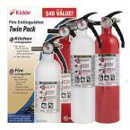 Basic Use & Kitchen Fire Extinguishers with Easy Mount Bracket, 2-Pack, Contains 1-A:10-B:C and 1-10-B:C