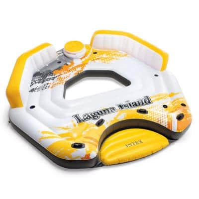 Yellow 5-Person Inflatable Laguna Island Lounging Pool Float