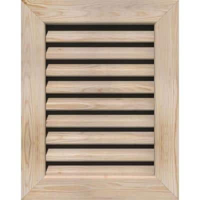 17 in. x 21 in. Rectangular Smooth Pine Wood Paintable Gable Louver Vent