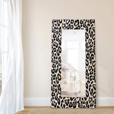 72 in. x 36 in. Leopard Rectangle Framed Printed Tempered Art Glass Beveled Accent Mirror