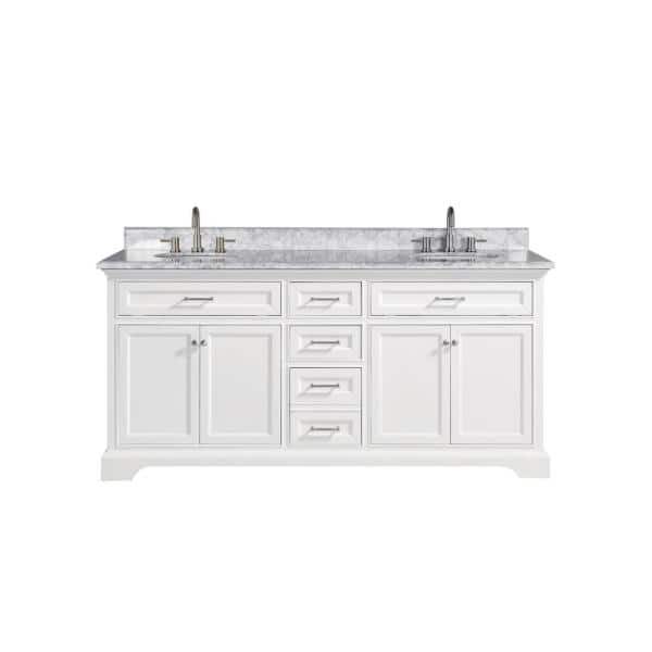 Home Decorators Collection Windlowe 73 In W X 22 In D X 35 In H Bath Vanity In White With Carrara Marble Vanity Top In White With White Sink 15101 Vs73c Wt The Home Depot