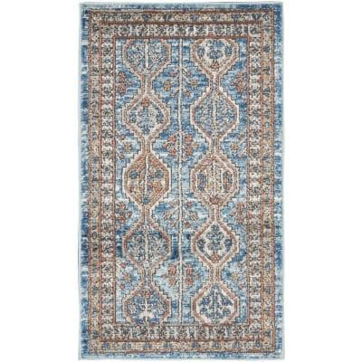 Concerto Blue/Multi 2 ft. x 4 ft. Bordered Contemporary Area Rug