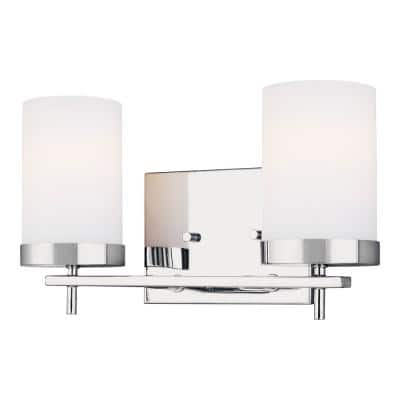 Zire 14 in. W 2-Light Chrome Vanity Light with Etched White Glass Shades with LED Bulbs