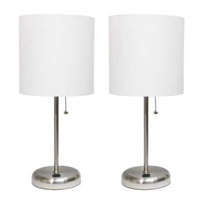 19.5 in. Stick Lamp with USB Charging Port and Fabric Shade, White (2-Pack Set)