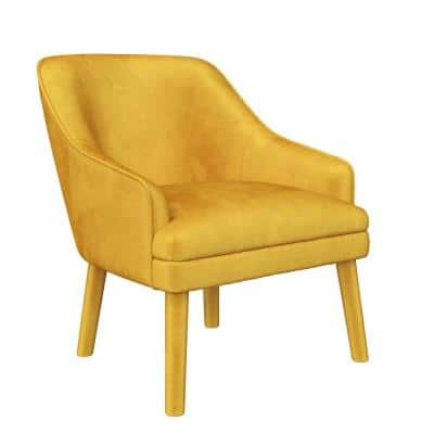 Effie Mustard Velvet Upholstered Accent Chair