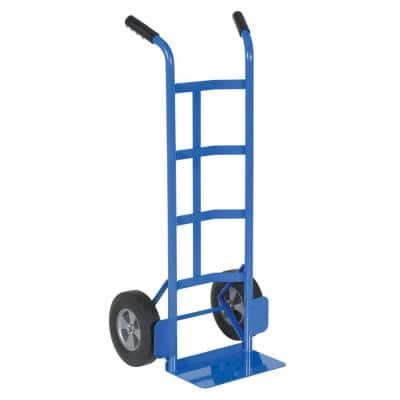 21 in. 44.5 in. 21 in. Blue Steel Dual Handle Hand Truck Hard Rubber 500 lb. Capacity