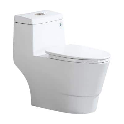 Everette 1-piece 1.1/ 1.6 GPF Dual Flush Elongated Toilet in White with Seat Included and Brushed Nickel Flush Button