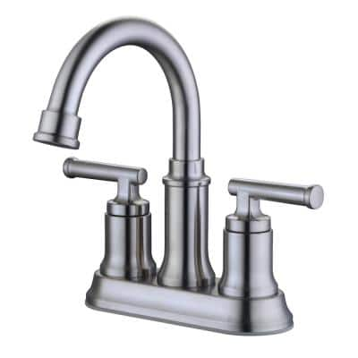 Oswell 4 in. Centerset 2-Handle High-Arc Bathroom Faucet in Brushed Nickel