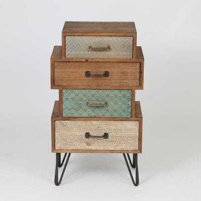 Chic 4-Drawer Cabinet End Table