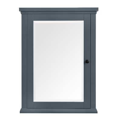 Merryfield 24 in. W x 32 in. H Framed Surface-Mount Bathroom Medicine Cabinet in Dark Blue-Gray