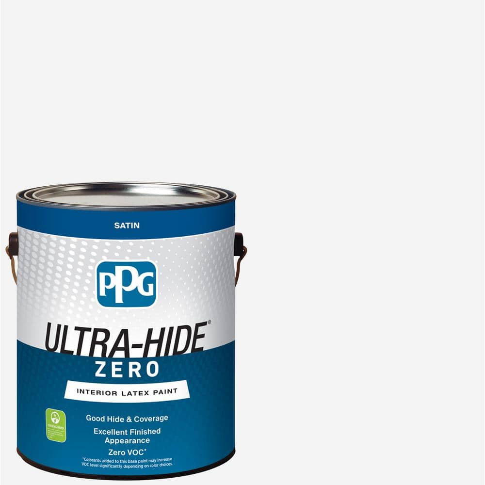 Ppg Ultra Hide Zero 1 Gal Pure White Base 1 Satin Interior Paint 1500 0100 01 The Home Depot
