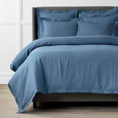 Legends Hotel Relaxed Denim Blue Solid Queen Linen Duvet Cover