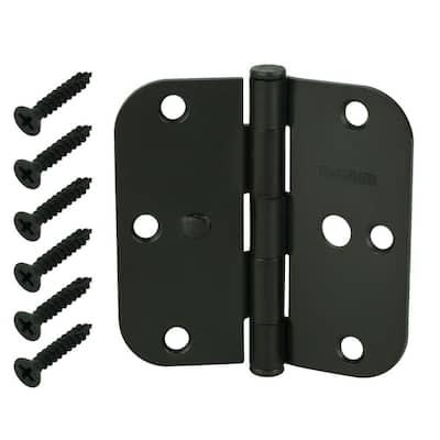 3-1/2 in. x 5/8 in. Radius Oil-Rubbed Bronze Squeak-Free Door Hinge (3-Pack)