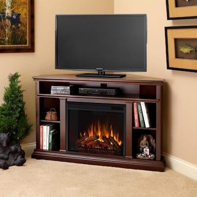 Churchill 51 in. Corner Media Console Electric Fireplace in Dark Espresso