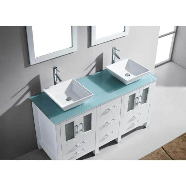 Virtu Usa Bradford 60 In W Bath Vanity White With Glass Top Aqua Tempered Square Basin And Faucet Md 4305 G Wh Nm The Home Depot